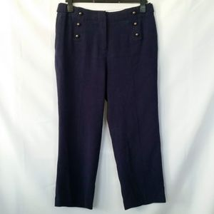 Soft Surroundings 10 Ankle Pants Navy Linen Blend
